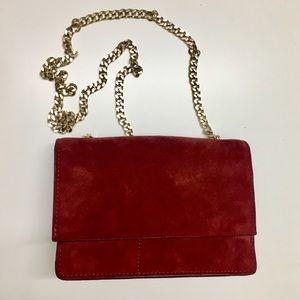 Zara women red suede golden chain crossbody bag